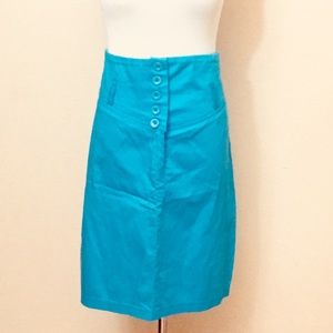 Vintage High Waisted Turquoise Skirt L